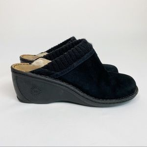Ugg Gael Lined Wedge Leather Mule Black Size 10